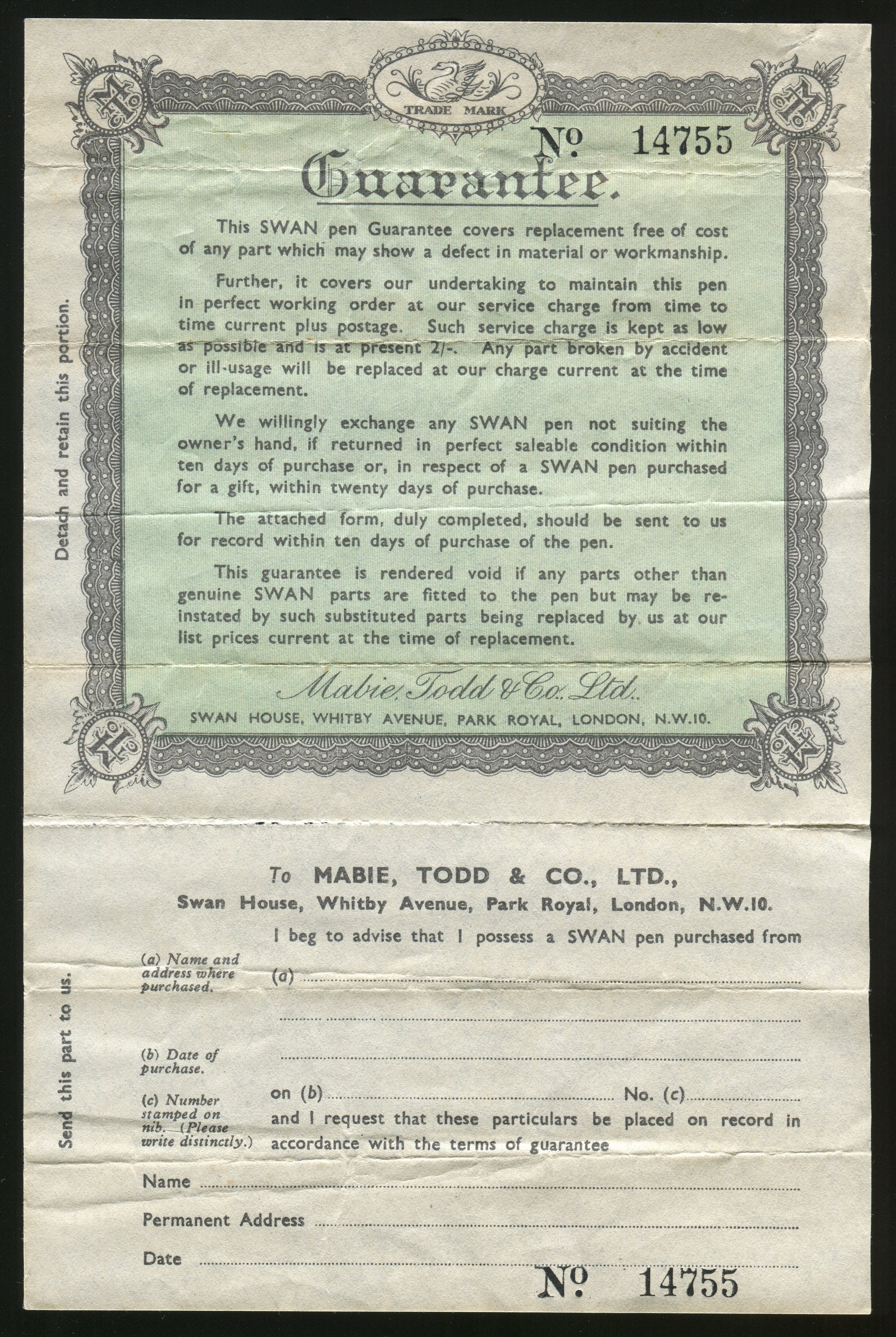 certificate of guarantee